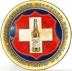 old vintage MUEHLBACH PILSENER beer tin tray
