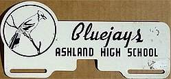 Bluejay Ashland High School License Plate Topper