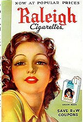 Raleigh CIGARETTES POSTER 1939