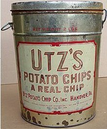 old vintage 1930s UTZ'S POTATO CHIP metal tin