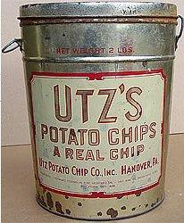 old vintage 1930s UTZ'S POTATO CHIP metal tin