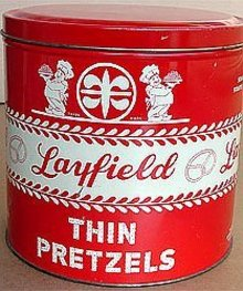 old vintage 1920s LAYFIELD PRETZEL TIN