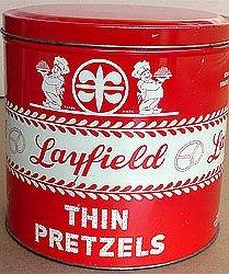 old vintage 1920s LAYFIELD PRETZEL TIN