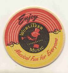old vintage WURLITZER JUKE BOX drink coaster