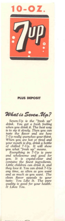 old vintage 1964 7up soda bookmark