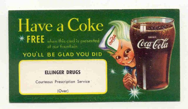 old vintage 1950 SPRITE BOY COCA COLA SODA card