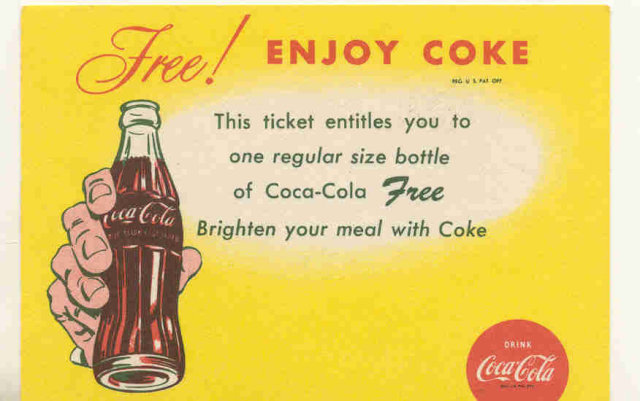 old vintage 1965 COCA COLA SODA drink card
