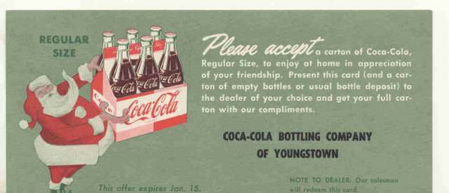 old vintage 1940S COCA COLA SODA drink card