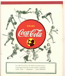 vintage 1960s football COCA COLA soda notebook