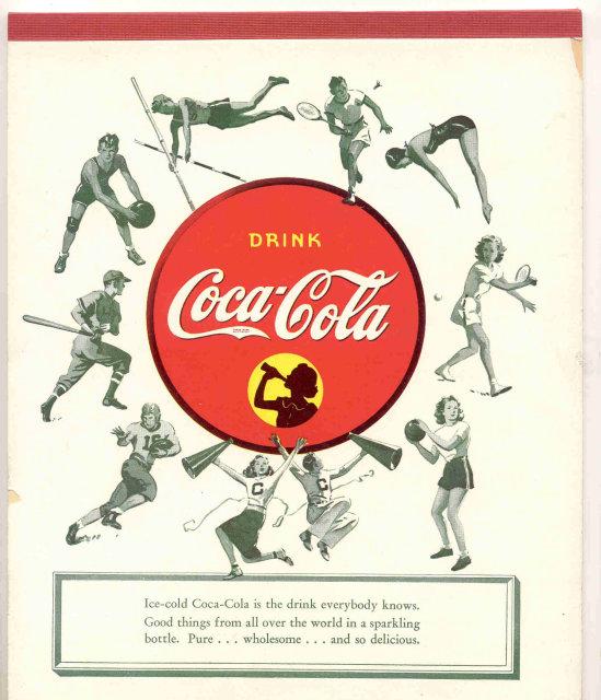 vintage 1960s football COCA COLA soda notebook
