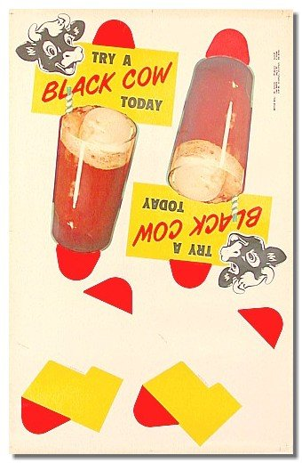 old vintage 1957 BLACK COW Ice Cream Soda sign