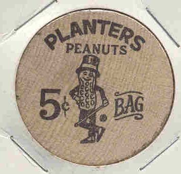Mr. Peanut Planters Wood Nickel Premium
