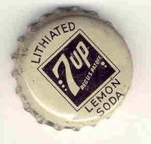 old vintage 1930s 7up LITHIATED LEMON SODA bottle cap cork lined