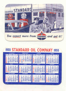 old vintage 1955 STANDARD OIL calendar card