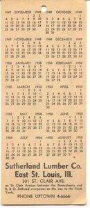 old vintage SUTHERLAND LUMBER CO 1949 Calendar
