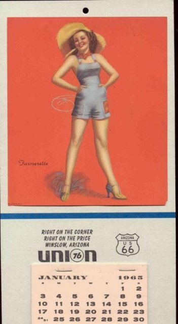 old vintage UNION GAS PINUP CALENDAR 1965