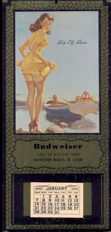 old vintage BUDWEISER pinup girl calendar 1940