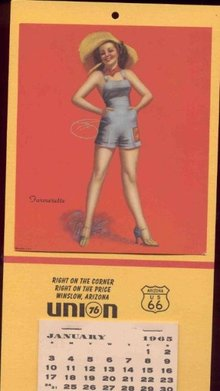 old 1965 PINUP GIRL CALENDAR ~ union gas