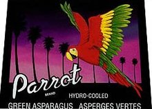 old vintage PARROT ASPARAGUS vegetable label