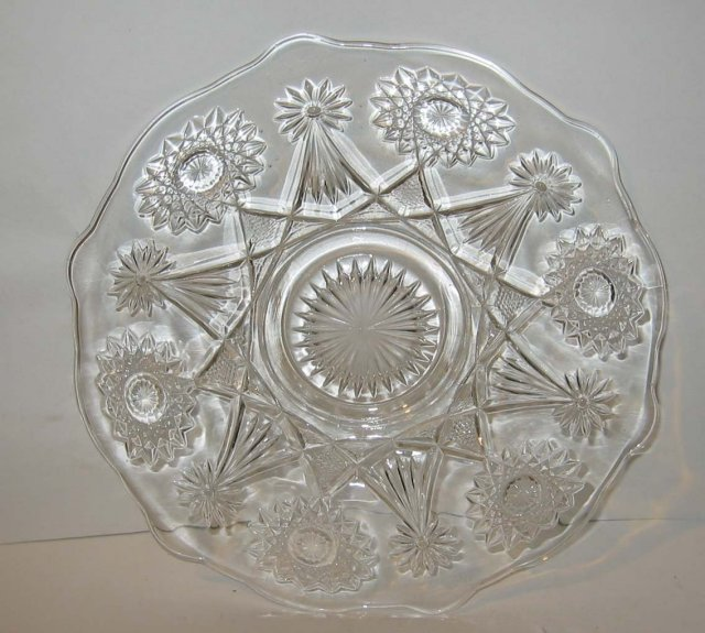 old vintage GLASS FACETED CAKE PLATE 10 inch
