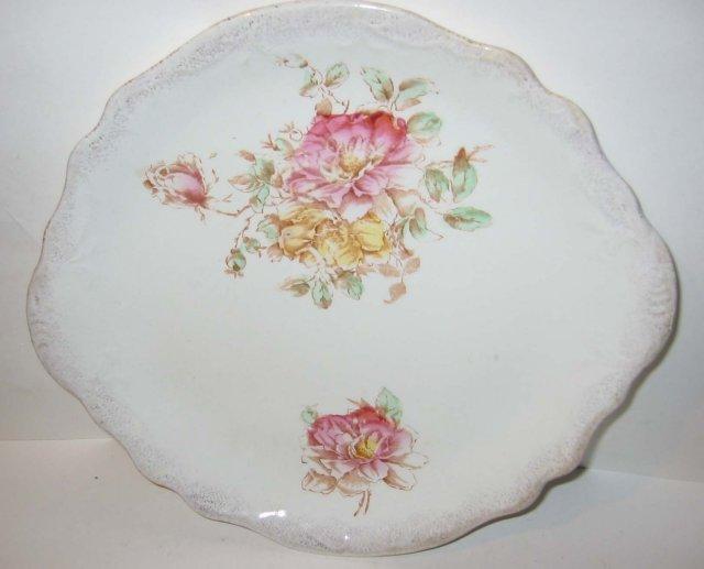 old vintage FLORAL PORCELAIN PLATE