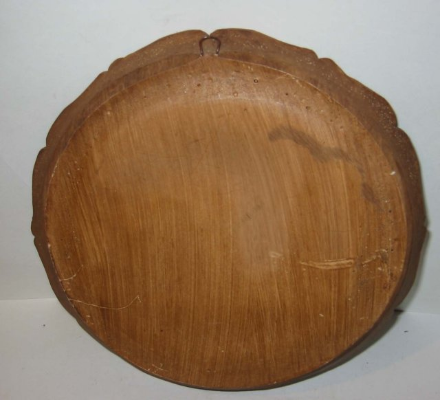 vintage WOODEN CARVED AUGSBURG collector PLATE