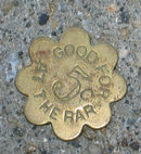 old vintage 1900s TAVERN TOKEN ~ FLOWER
