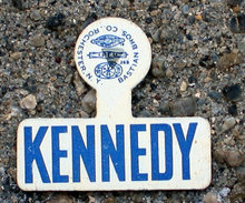 old vintage JOHN F. KENNEDY TIN LITHO lapel tag