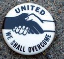 vintage 1960s UNITED OVERCOME handshake pin