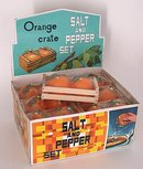 old vintage ORANGES SALT PEPPER SHAKER display