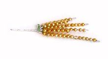 old vintage GLASS BEAD yellow CAT TAIL xmas
