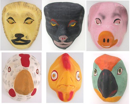 6 old vintage HALLOWEEN hand painted MASKS
