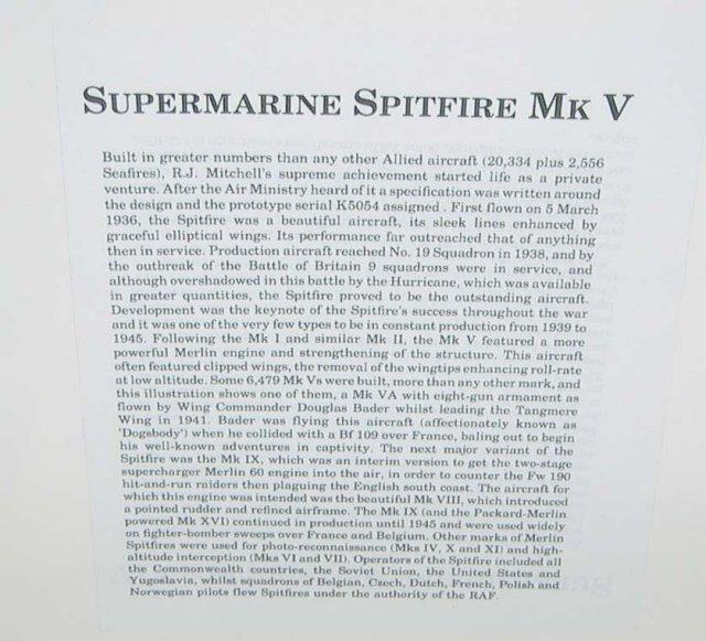 old vintage SUPERMARINE SPITFIRE MK V plane