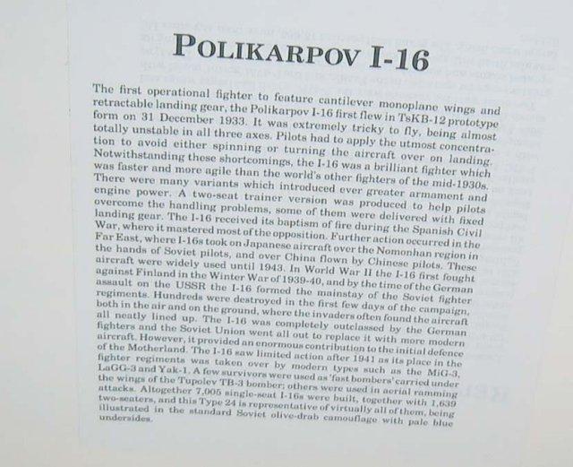 old vintage POLIKARPOV I-16 plane poster