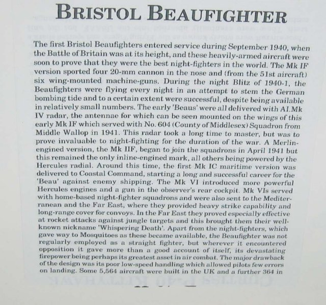 old vintage BRISTOL BEAUFIGHTER plane poster
