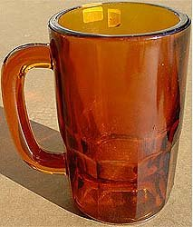 old vintage 1910s AMBER GLASS ROOT BEER glass
