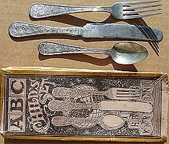 ANTIQUE ABC 1900 CHILD'S SILVERWARE SET