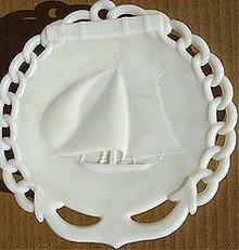 old vintage 1900 schooner SHIP MILK GLASS plate
