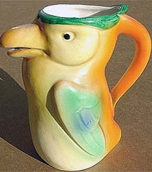 old vintage 1920 CZECH TOUCAN BIRD pitcher