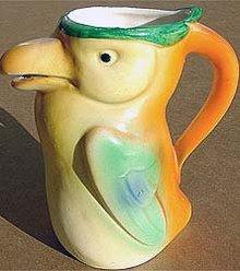 old vintage 1920 CZECH TOUCAN BIRD pitcher