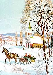 old vintage 1930s WINTER SCENE HOLIDAY print