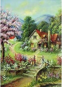 old vintage 1920s ENCHANTED COTTAGE PRINT