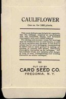 old vintage 1930s CAULIFLOWER SEED PACKET ~ FREDONIA NEW YORK