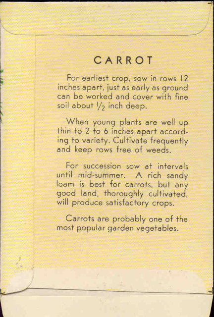 old vintage 1930s CARROT SEED PACKET ~ PASADENA CA