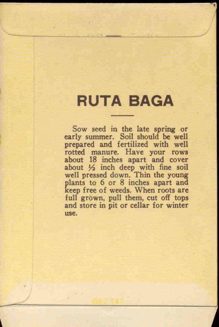 old vintage 1930s RUTABAGA SEED PACKET ~ PASADENA CA