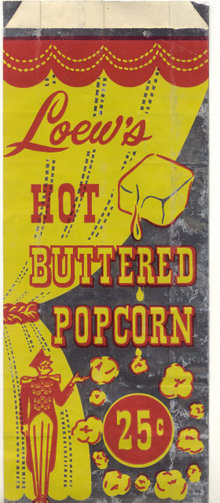 Loews Butter Popcorn Movie Theatre Bag