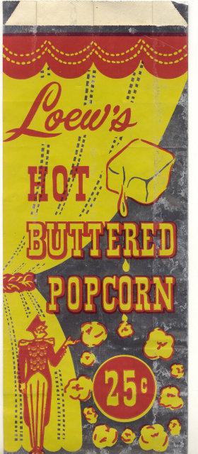 Loews Butter Popcorn Movie Theatre Bag
