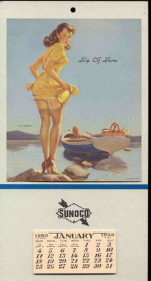 old vintage 1953 SUNOCO PINUP GIRL calendar ~ gas oil