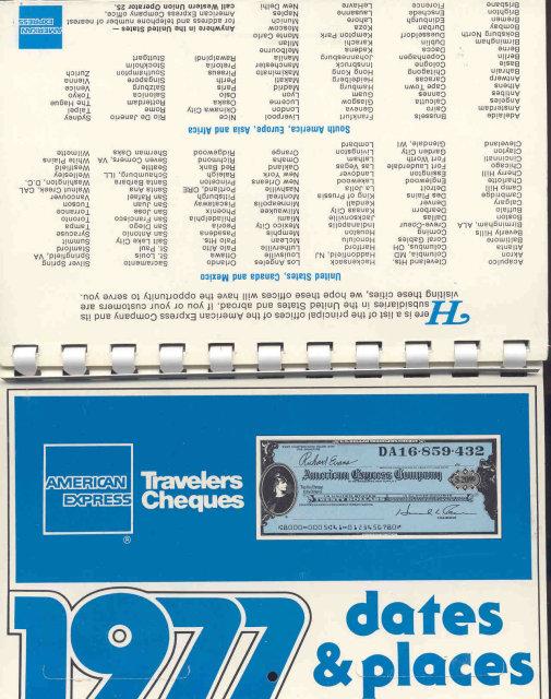 old vintage 1977 AMERICAN EXPRESS CALENDAR booklet