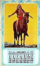 old vintage 1936 APPEAL TO THE GODS Indian Calendar